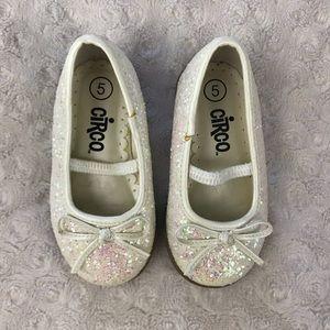 Circo Glitter Flats Cream Bow Sparkle Size 5